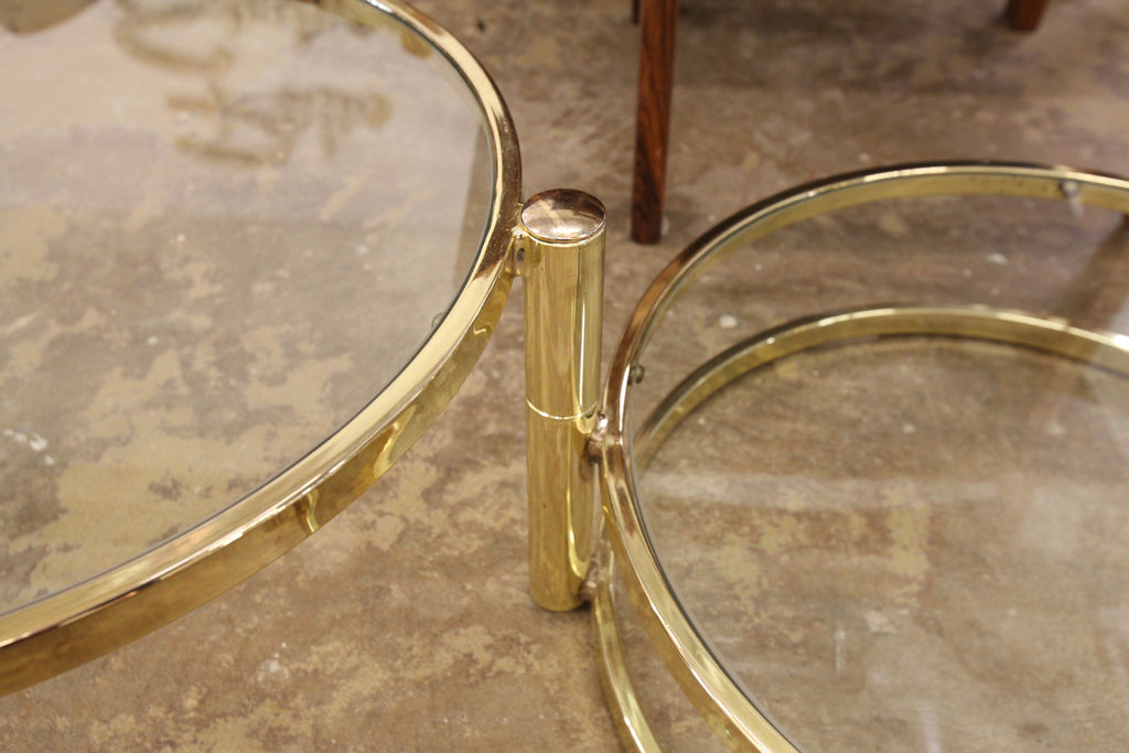 "Vintage Brass 3 Tier Coffee Table (22.5""W min. / 66.5""W max.)"