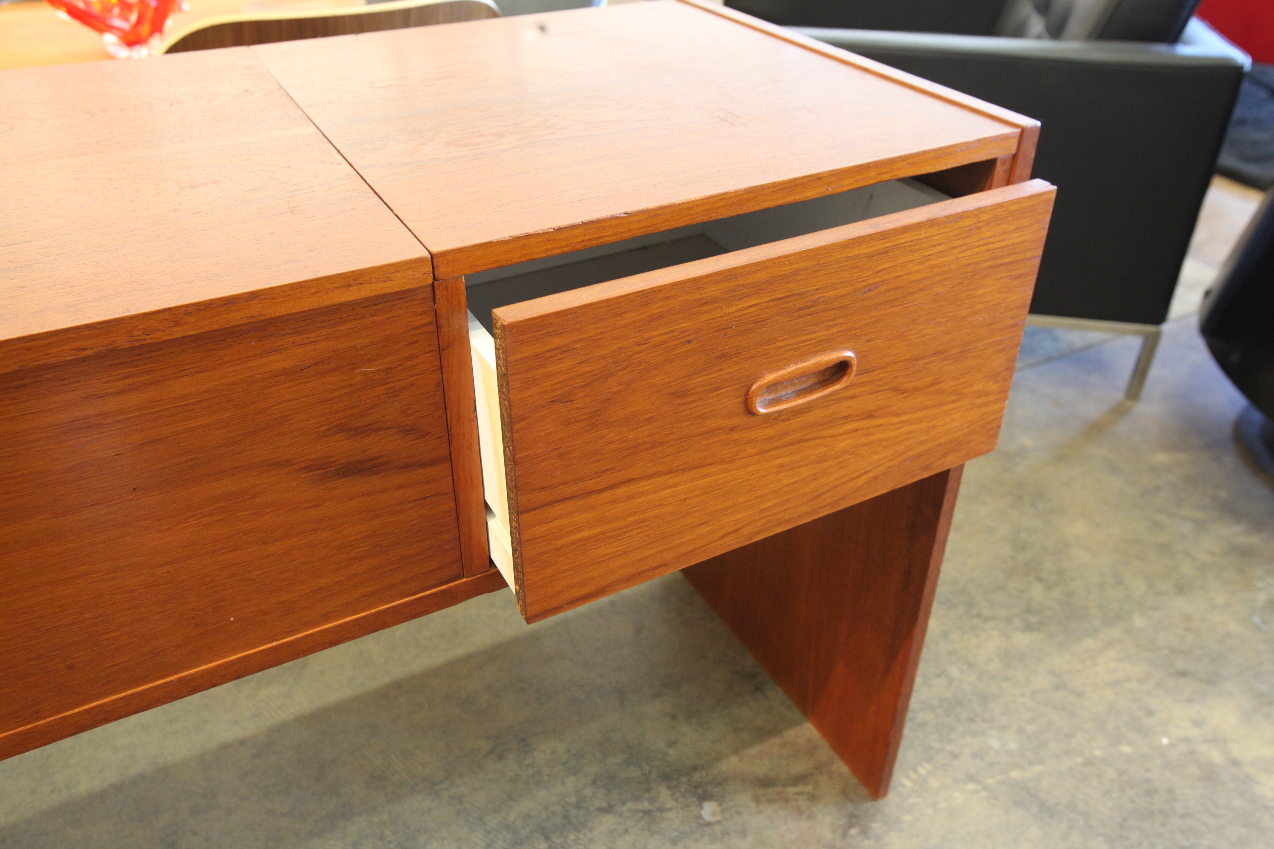 "Vintage Danish Teak Extendable Media / Stereo Stand (49""-92""W x 18.5""D x 28.5""H)"