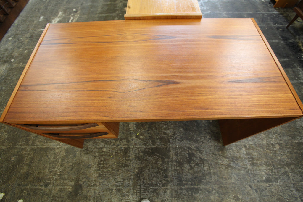 "Vintage 2 Drawer Teak Desk (48""W x 24""D x 28""H)"