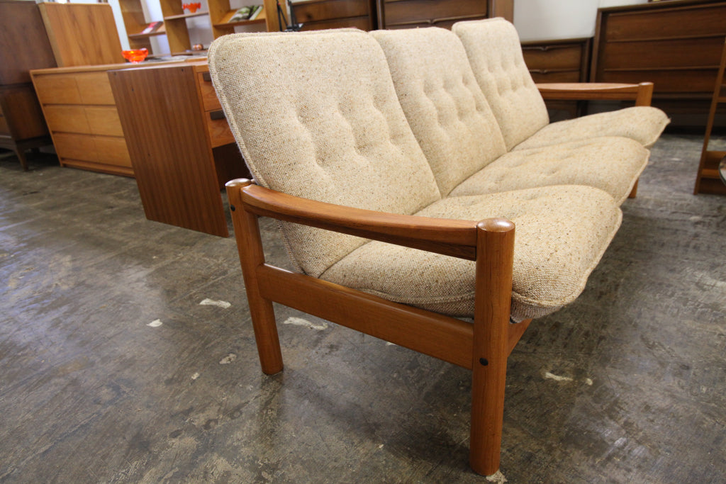 "Vintage Danish Teak 3 Seater Sofa by Domino Mobler (73.5""W x 27.5""D x 31""H)"