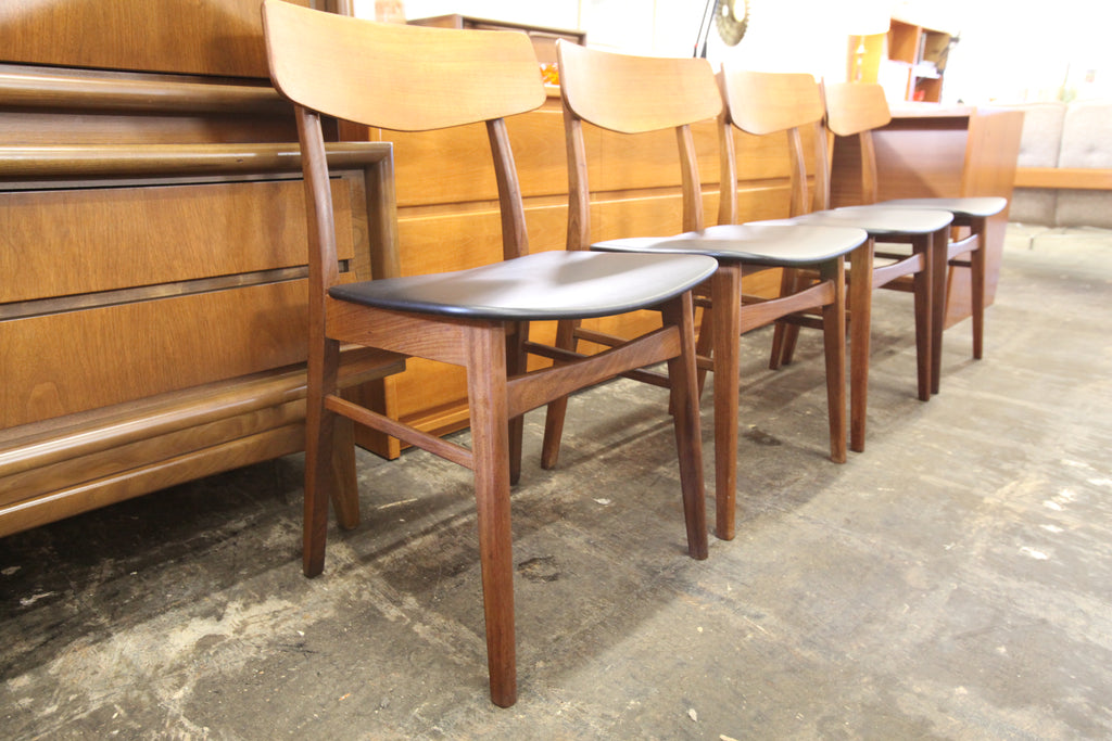 Set of 4 Vintage Teak/Walnut Wood Back Dining Chairs