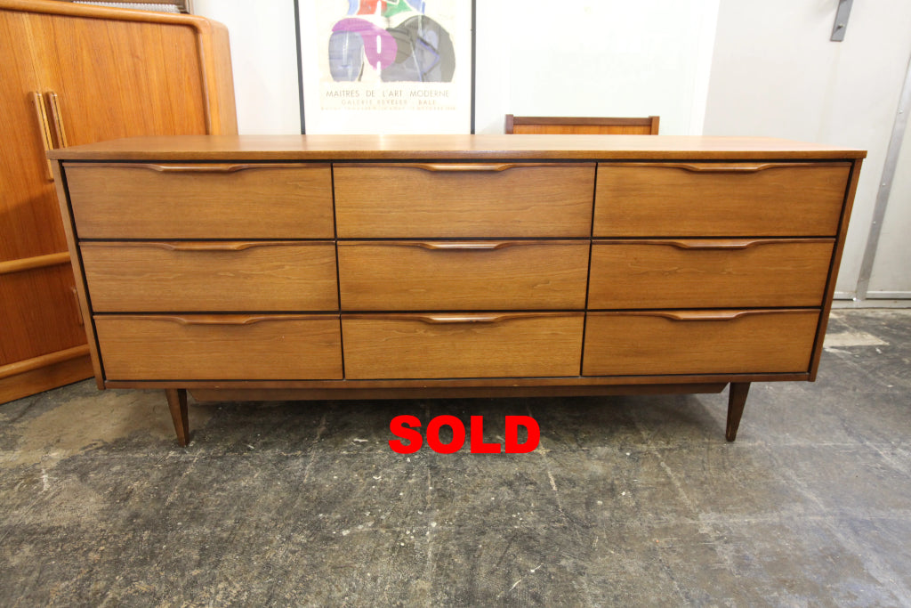 "Vintage Vic-Art Walnut 9 Drawer Dresser (72""W x 18.5""D x 31""H)"