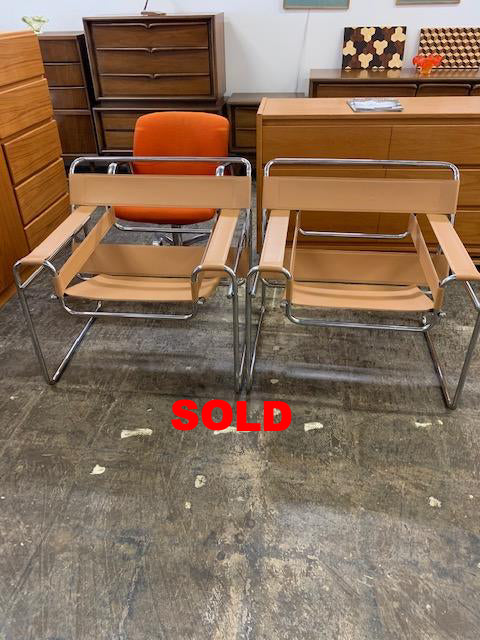 Vintage Tan Leather Marcel Breuer Wassily Style Chairs
