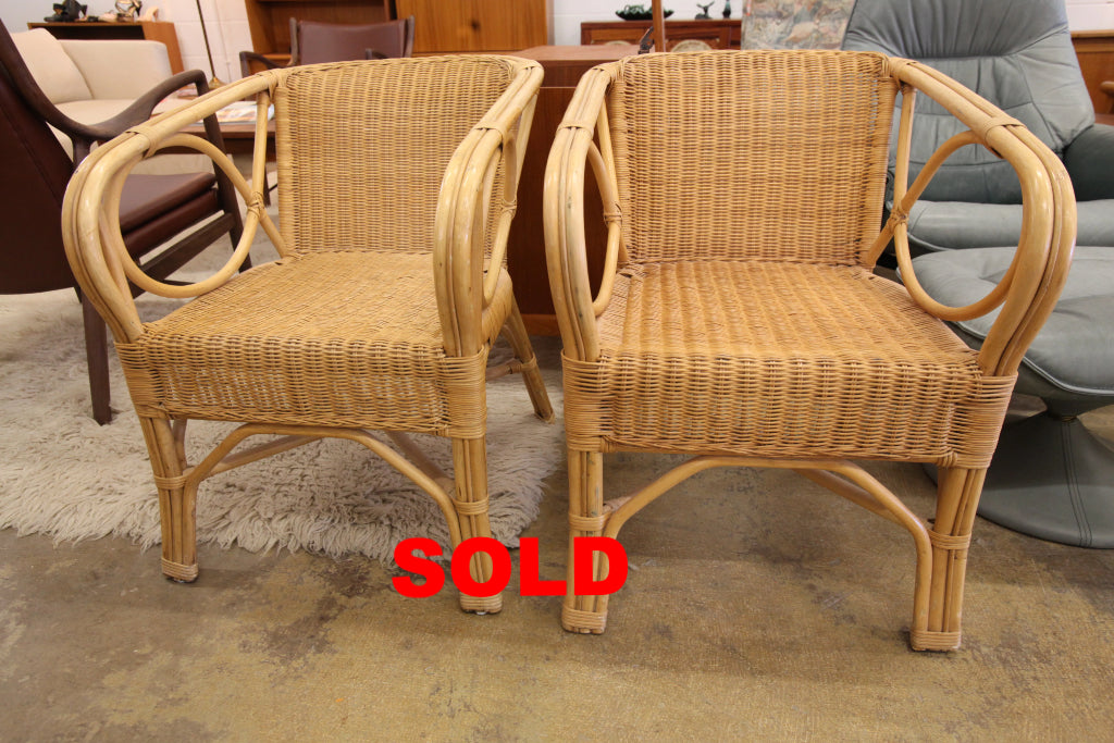 "Set of 2 Vintage Ratan Chairs (22""W x 25""D x 28.5""H)"