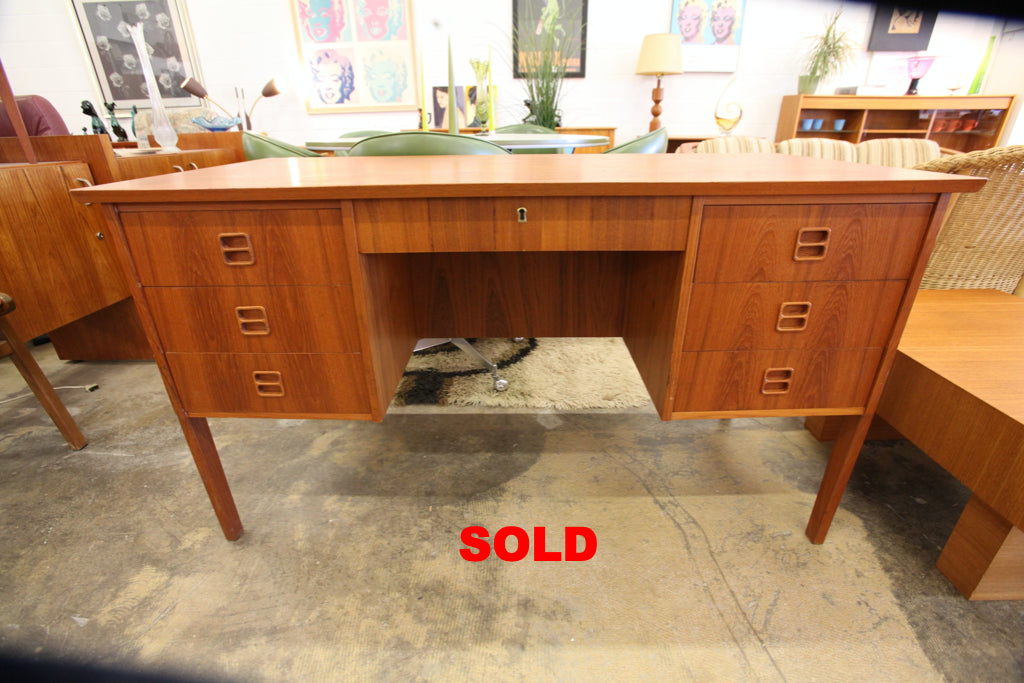 "Vintage Teak 7 Drawer Desk (50.75""W x 23.75""D x 28.5""H)"