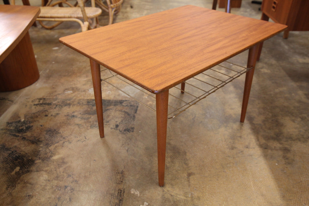 "Vintage Teak Side Table w/ Wire Shelf Below (27.5""W x 19.5""D x 17.5""H)"