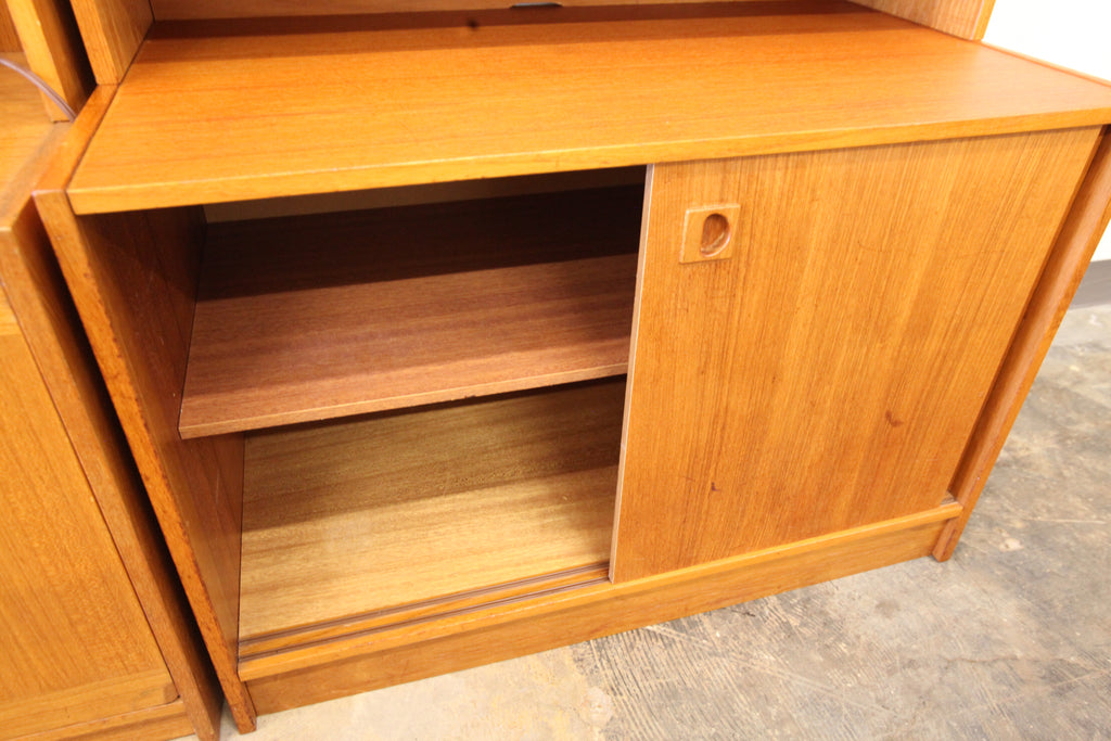 "Vintage Danish Teak Wall Unit W/ Drop Down Bar (35""W x 19.5""D x 71.5""H)"