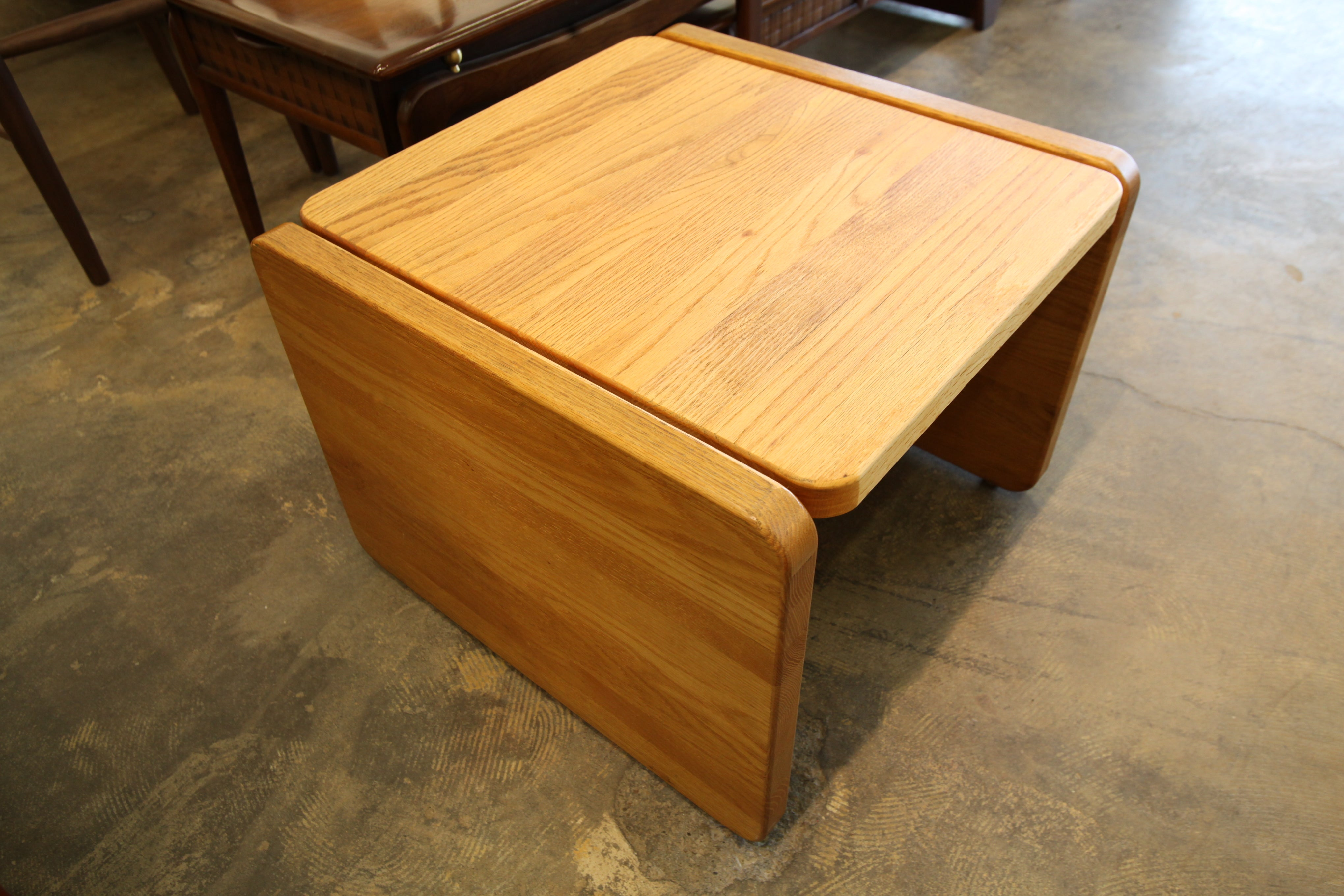 "Vintage Solid Oak Side Table (24"" x 23.5"" x 18""H)"