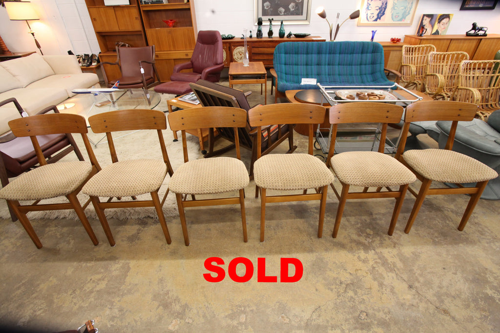 Set of 6 Beautiful Danish Farstrup Wood Back Chairs