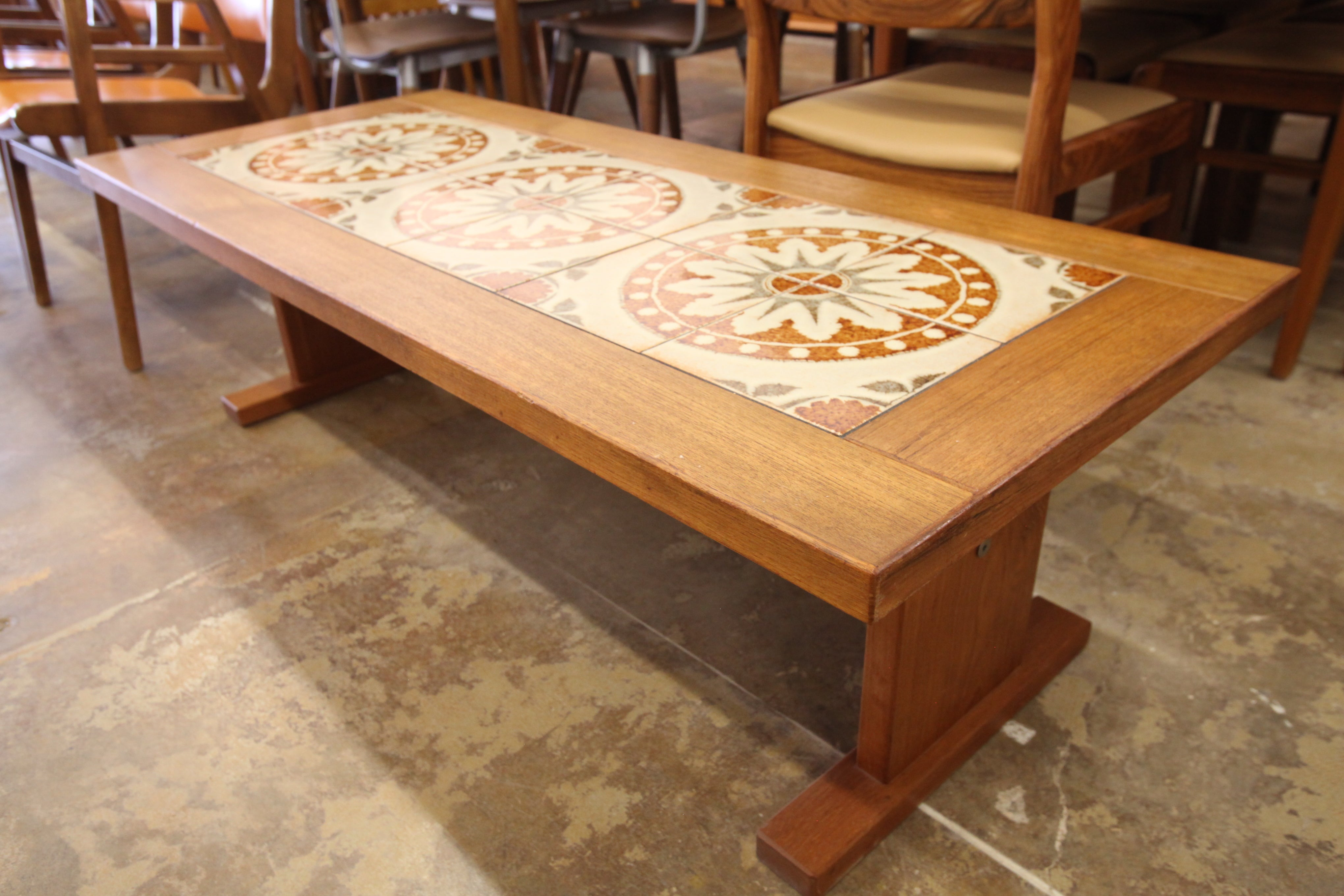 "Vintage Danish Teak/Tile Coffee Table by Gangso Mobler (56.25""L x 24.5""W x 16.75""H)"