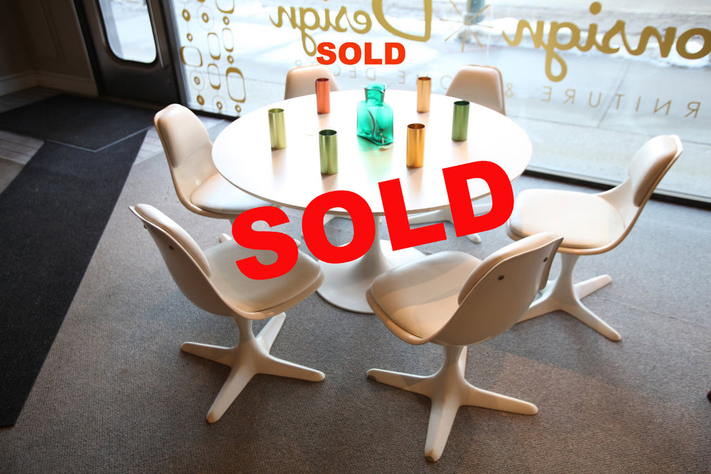 Burke Mid Century Tulip Table And 6 Chairs