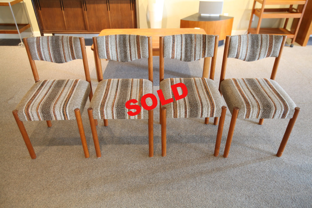 4 Teak Striped fabric Chairs