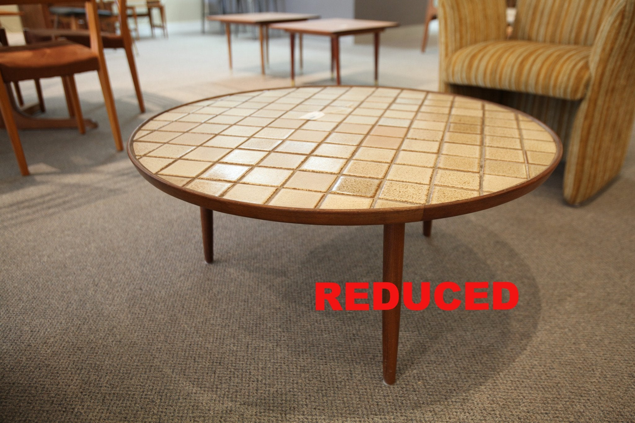 "Round Teak & Tile Coffee Table (36"" across x 16"" high)"