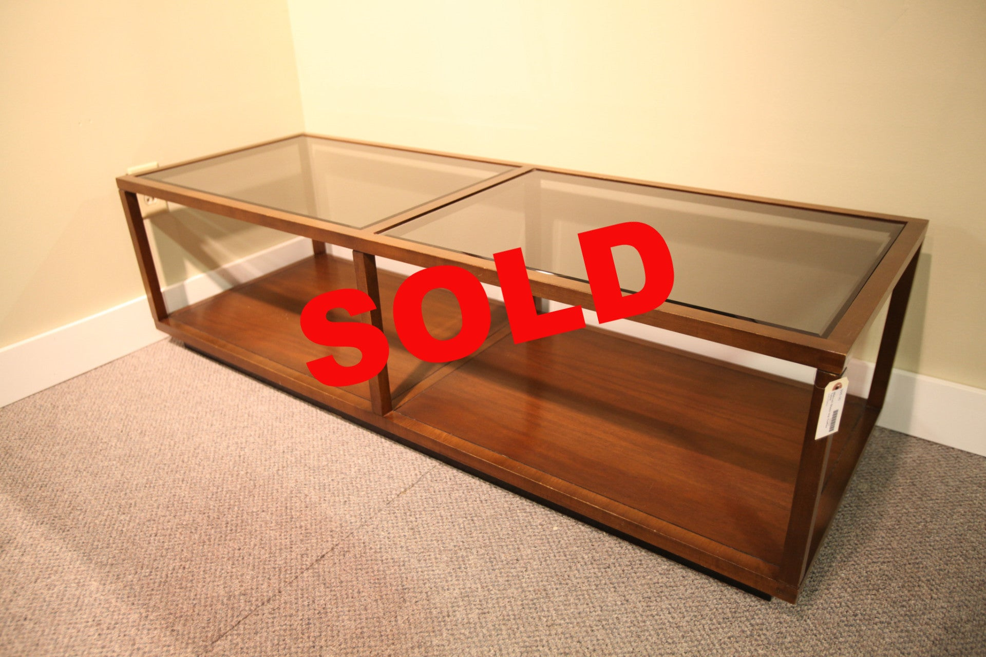 Wood and Glass Coffee table – Consign Design Edmonton