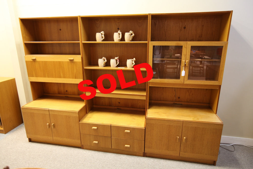 "Teak Wall Unit (3 sections each sold separately) (35"" x 71.25"")"