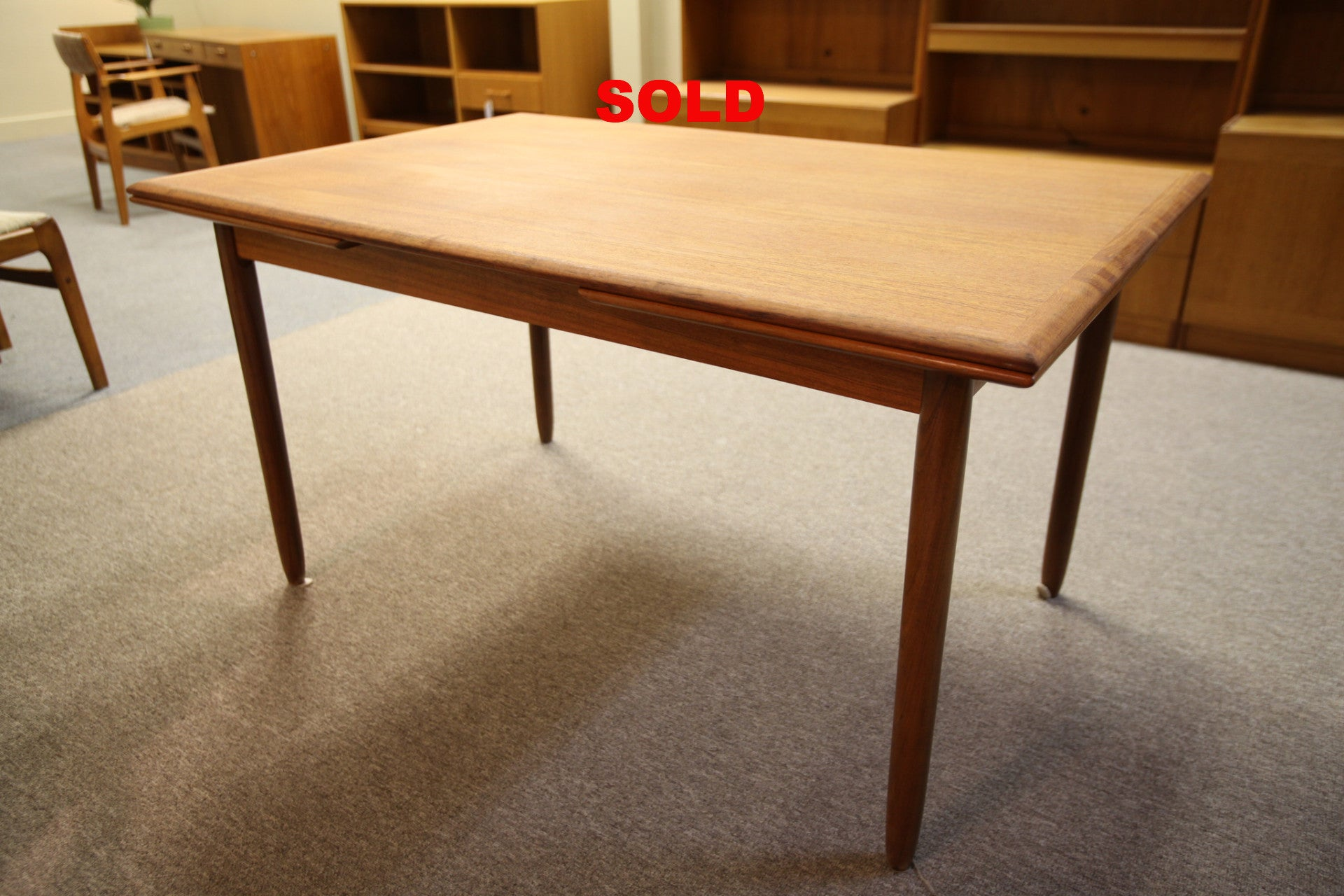 Large Teak Table with Extensions (90.25x35)