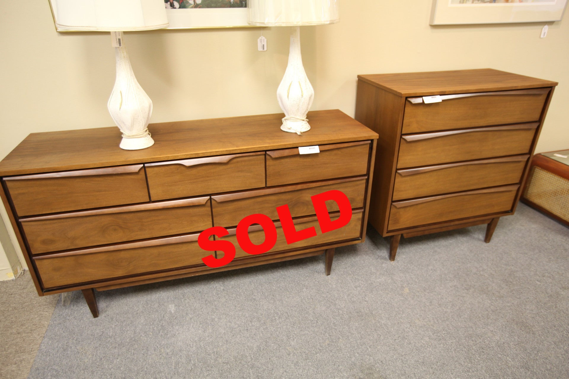Walnut Mid Century Dresser set