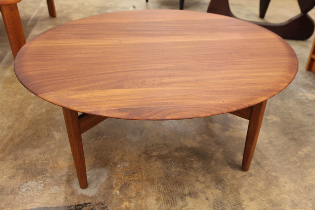 "Vintage Round Solid Teak Coffee Table (38.5"" Dia x 15.75""H)"
