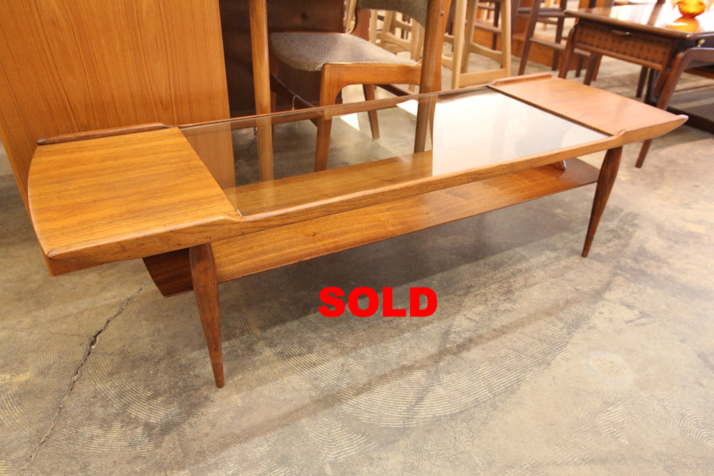 "Vintage Walnut Coffee Table w/ Glass Insert (59.5""L x 18.75""W x 15.75""H)"