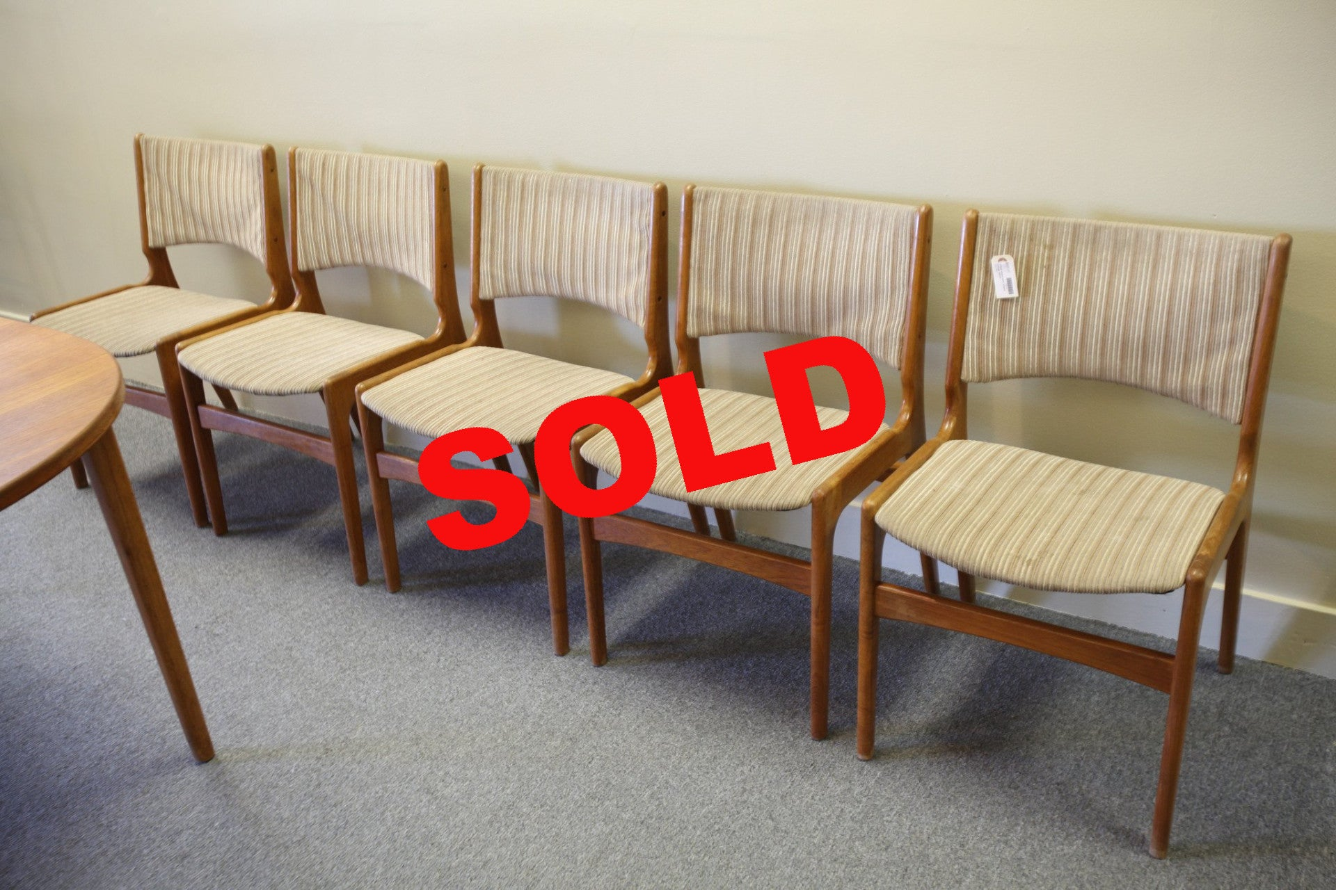5 Teak Chairs with Striped fabric