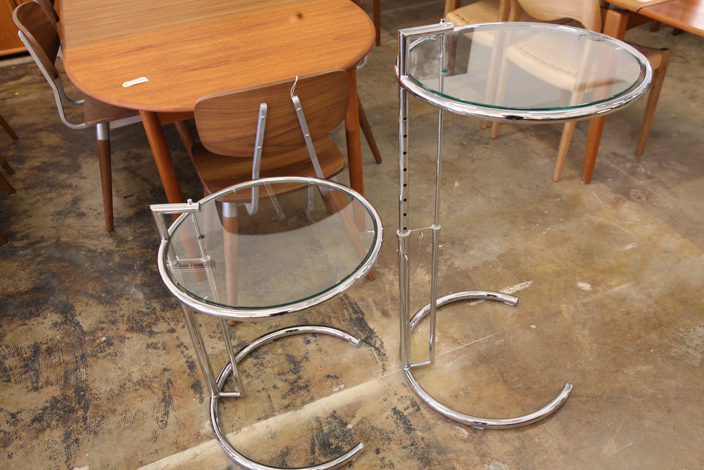"Vintage Replica Chrome Eileen Grey Adjustable Side Table (20"" Dia x 23.5""-36""H)"