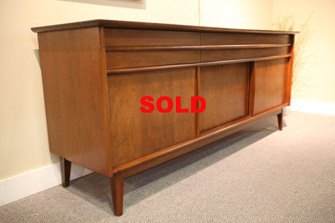 Walnut Credenza with Sliding Doors/3 drawers