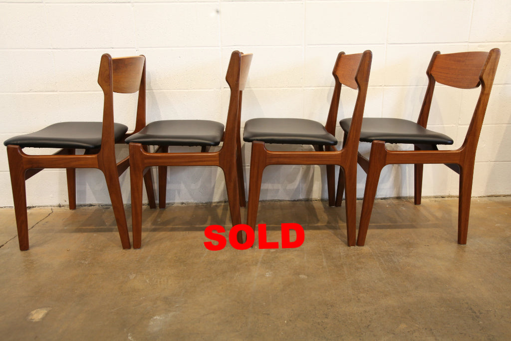 Set of 4 Vintage Eric Buch Teak Dining Chairs (floating seat)