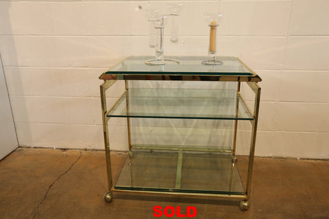 "Beautiful Vintage Solid Brass Bar Cart (27.75""W x 20""D x 27.5""H)"