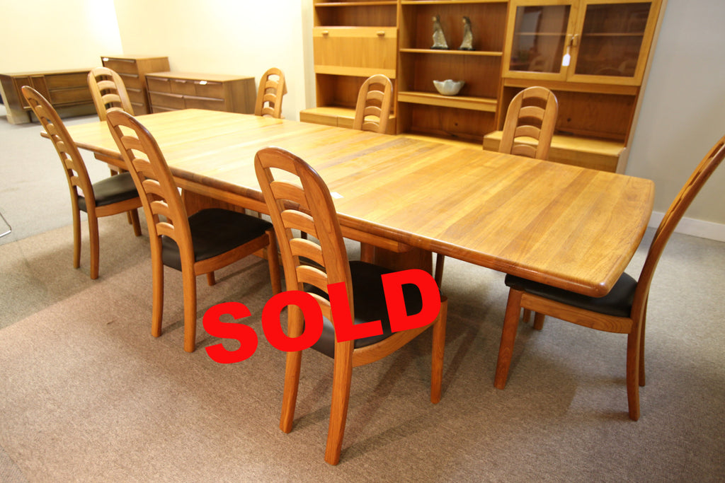 "Scandia Teak Dining Table and 8 Chairs (2 leafs) 130""Lx47""W"