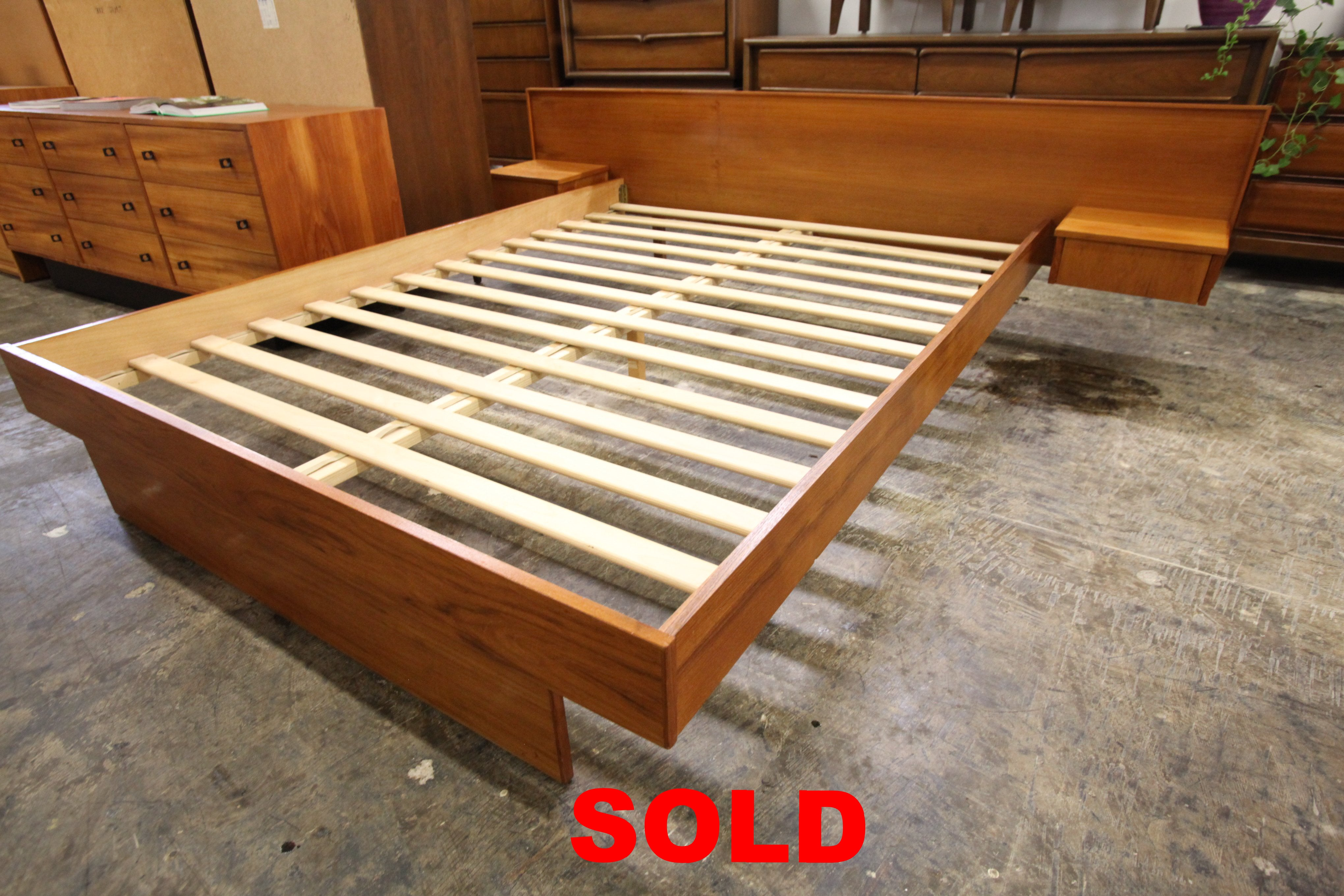 "Vintage Teak Queen Bed w/ Floating Night Stands (96.5""W x 26""H x 82.5""D)"