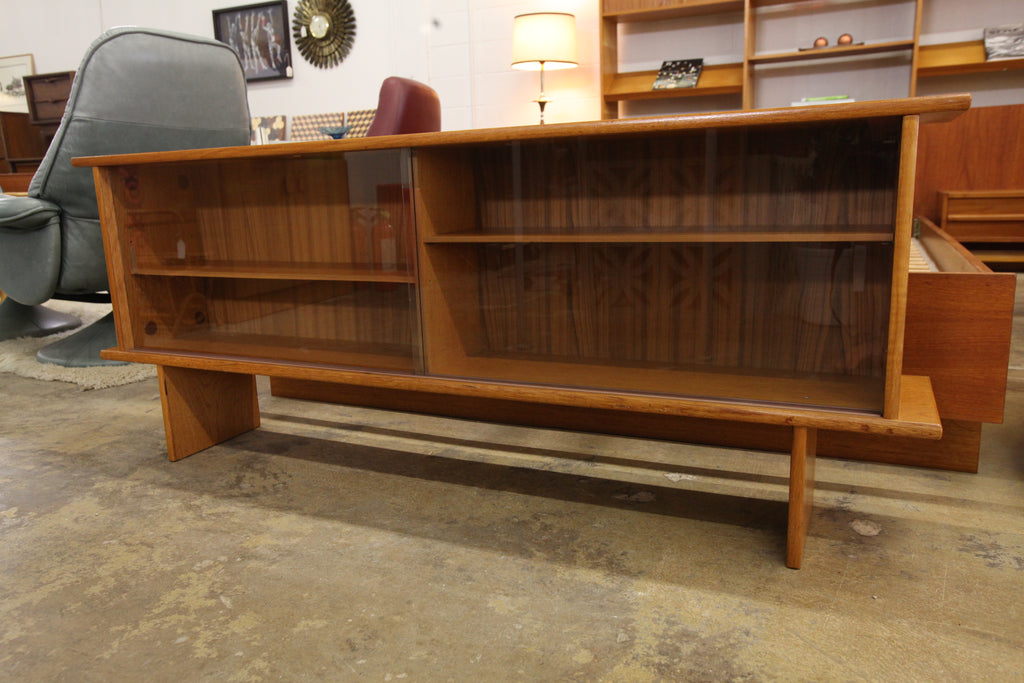 "Vintage Danish Teak Hutch w/ Sliding Glass Doors (59""W x 10""D x 23.75""H)"