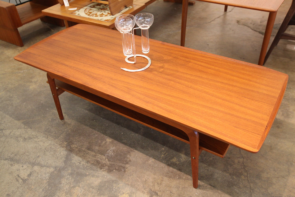 "Vintage Teak Surfboard Coffee Table by Arne Hovmand Olsen (59""L x 23.5""W x 18.75""H)"