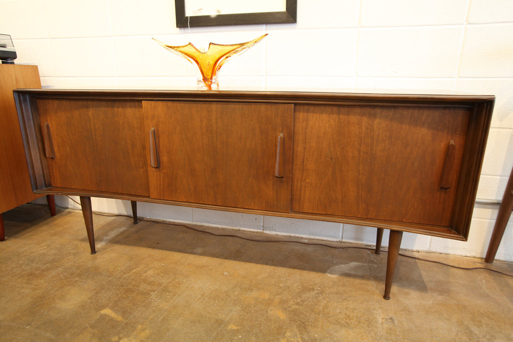 "Vintage Curved Front Walnut Sideboard by Deilcraft (68""W x 19""D x 30""H)"