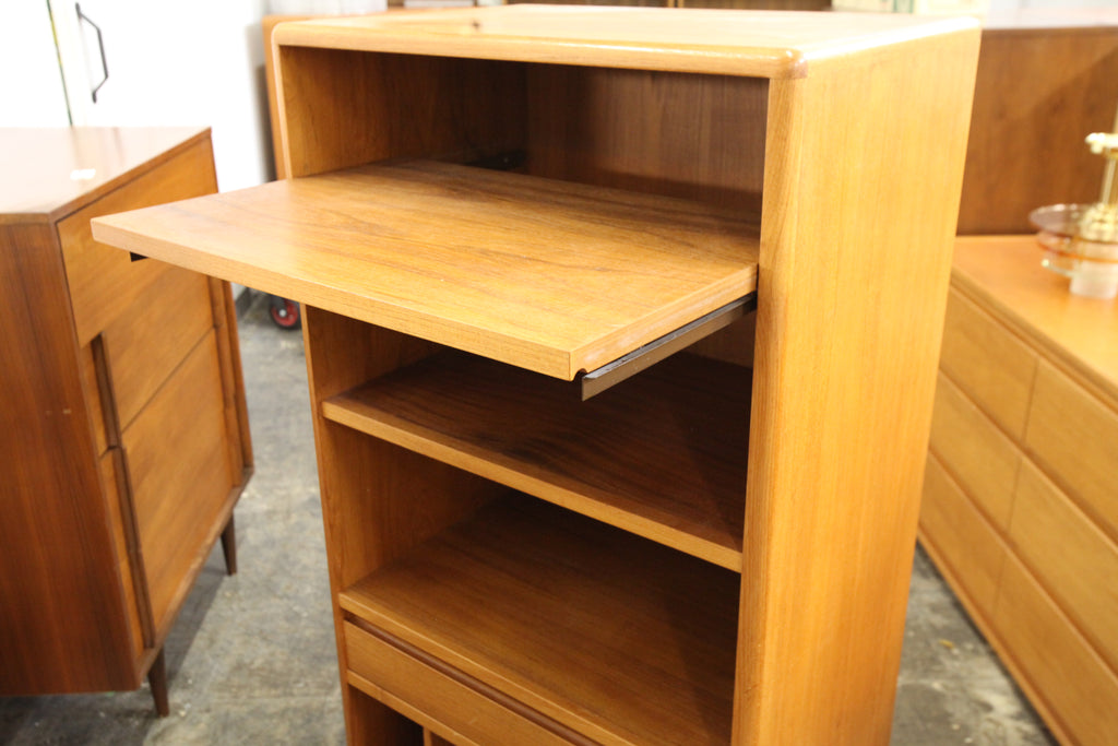 "Vintage Teak Stereo Stand w/ Pull Out Shelf & Drawer (25.5""W x 17.5""D x 51.75""H)"