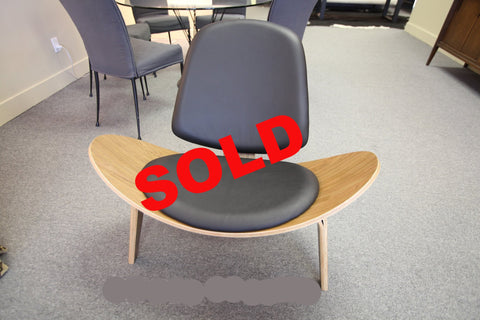Black Leather Shell Chair (Replica)  (Back in stock in September)