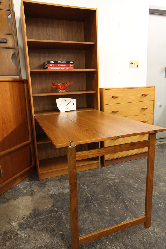 Unique Vintage Danish Teak Bookshelf with Drop Down Desk