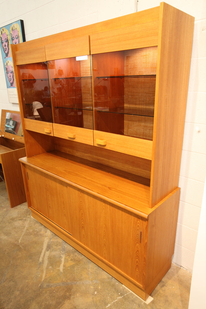 "Vintage Teak Buffet and Hutch by RS Associates Montreal (61.75""W x 18.25""D x 73""H)"