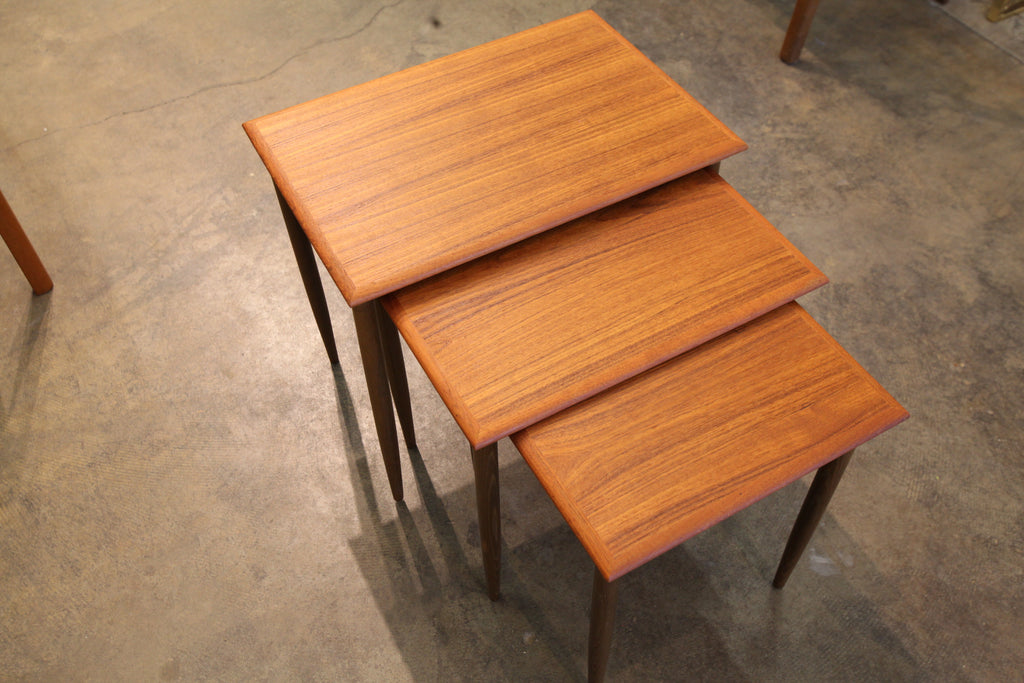 "Beautiful Danish Teak Nesting Table Set (21.5"" x 15"" x 19""H)"
