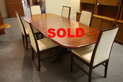 "Danish Rosewood Dining Table (Gudme Mobelfabrik) 102""x41.5"" with (2) leafs."