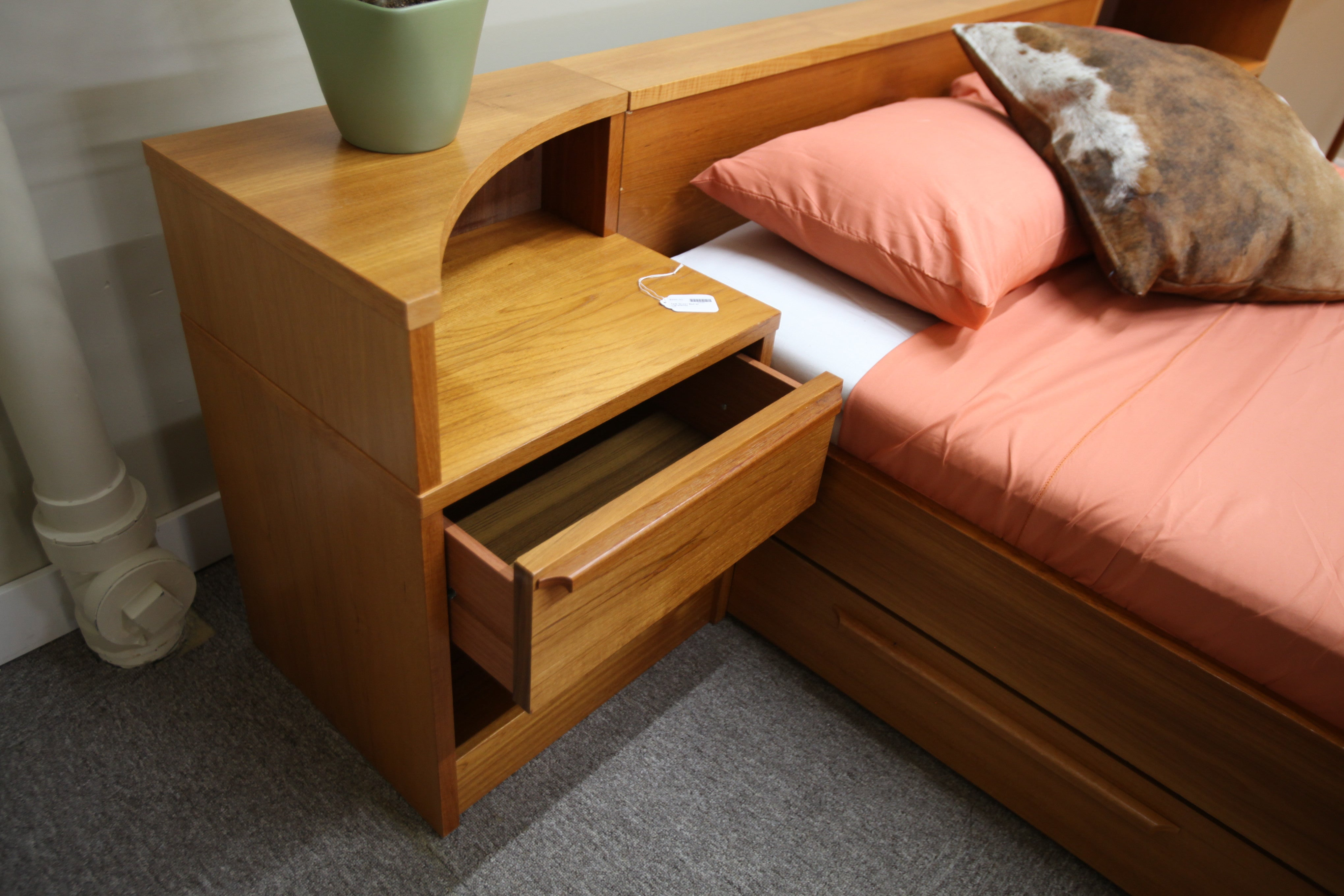 Teak Queen bed with pull out drawers