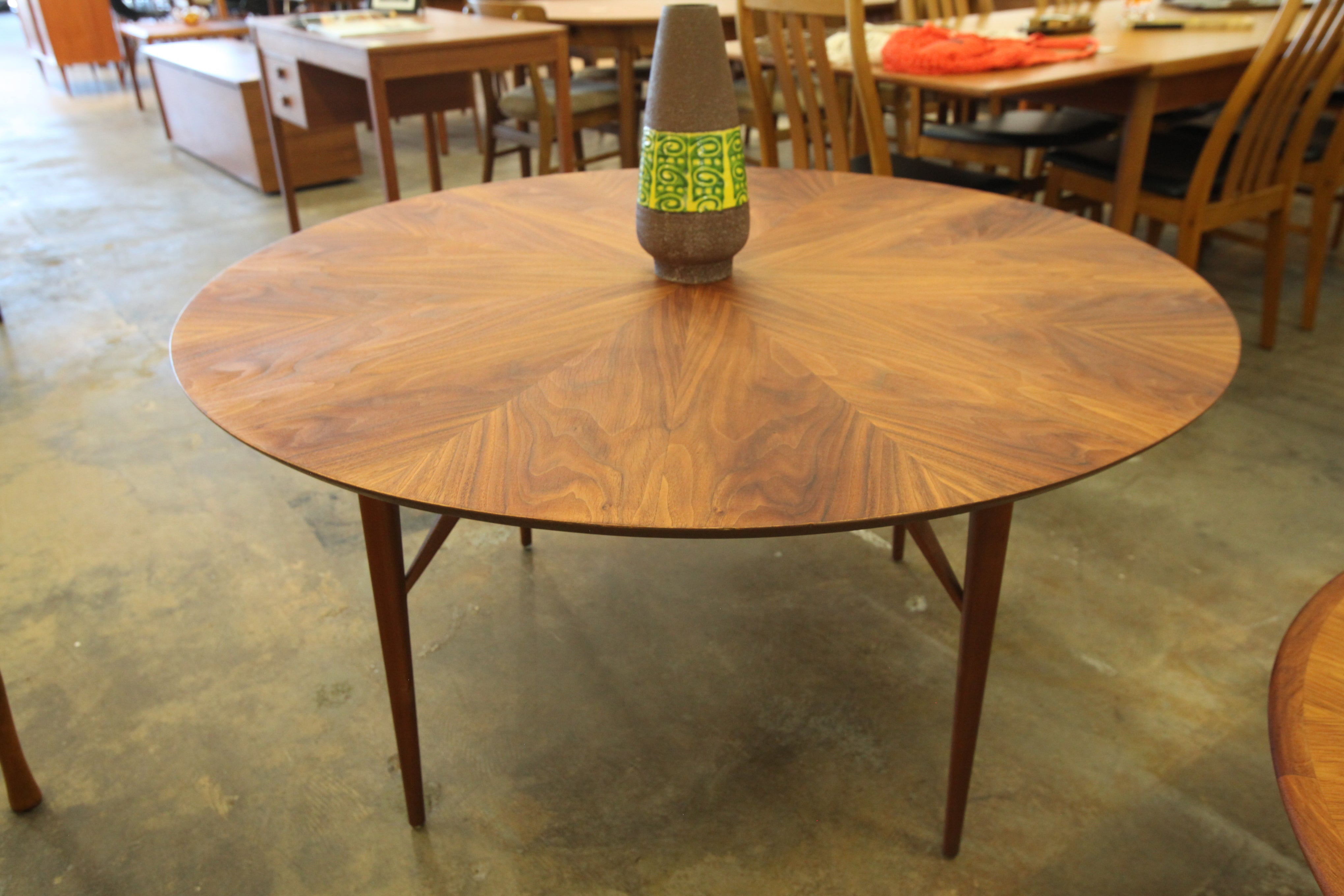 "Stunning Oversized Vintage Round Teak Side Table (48""Dia x 24.25""H)"