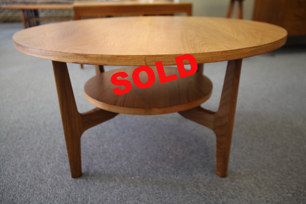 "Mid Century Round Teak Coffee Table (34.5""x18"")"