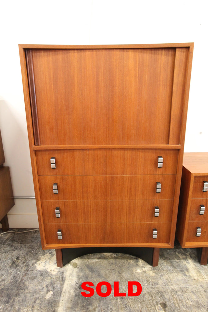 "Beautiful Vintage Curved Front Teak Cabinet / Dresser by RS Associates (78""Wx18""Dx28""H)"
