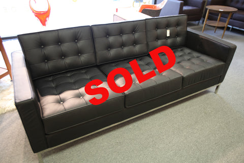 "Knoll Leather Replica 3 seater Sofa (BLACK) (80.5""x31.5"")"