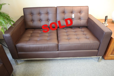 "Knoll Leather Replica 2 Seater Sofa (BROWN) (56.5""x32"")"