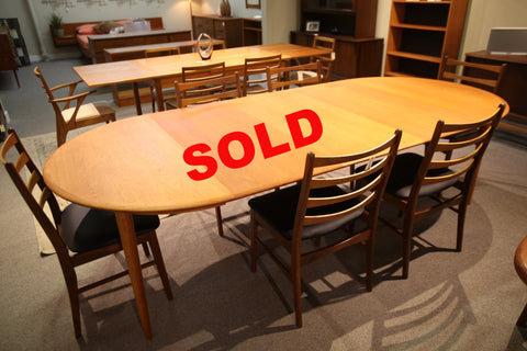 "Round Danish Teak Table (3 Leafs) (106""x47"") or (47"" across round)"