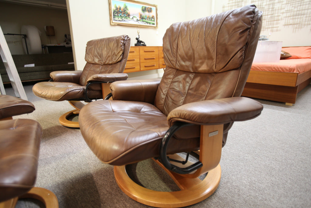Palliser Leather Recliner Chair and Ottoman (One Available)