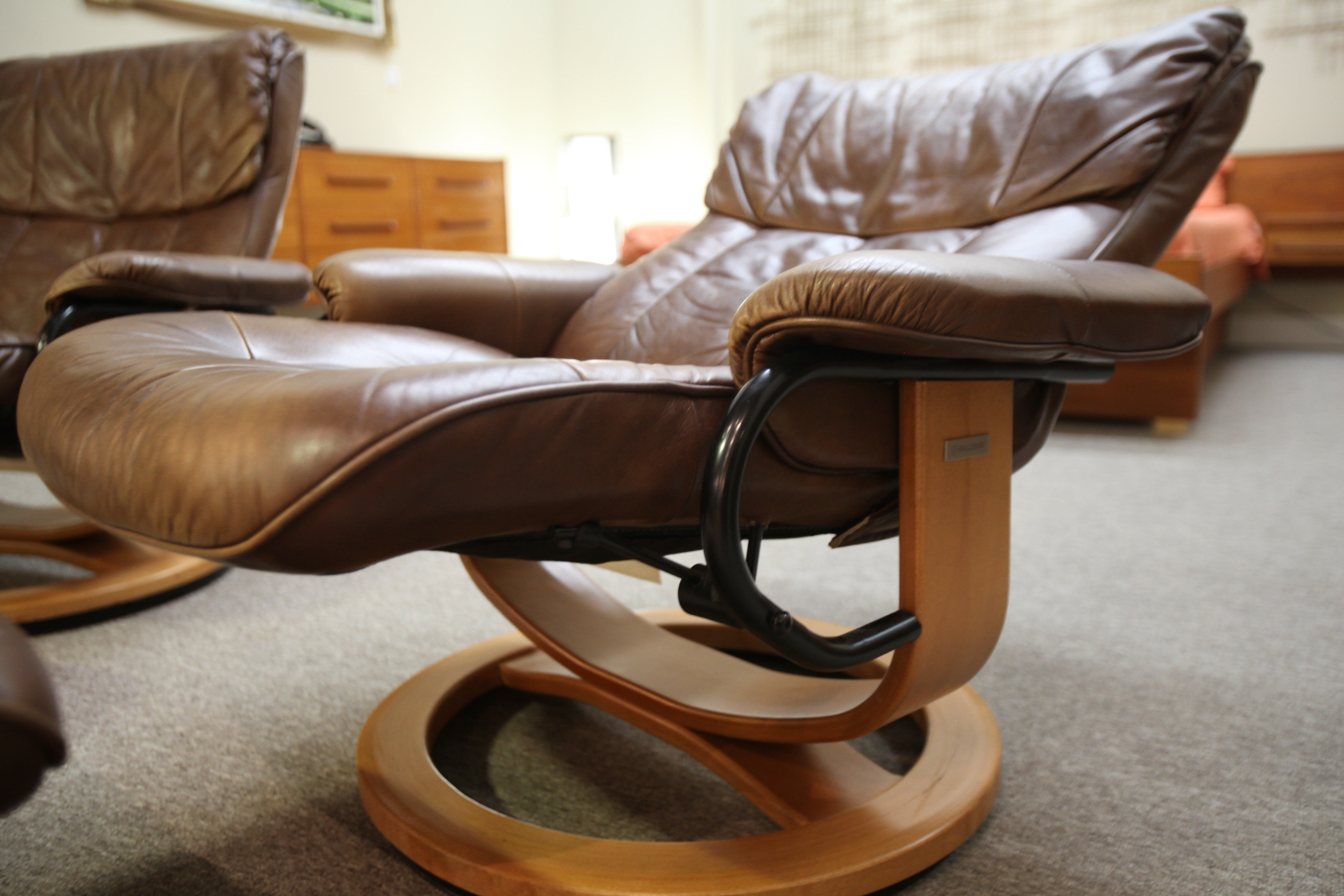... Palliser Leather Recliner Chair And Ottoman (One Available)