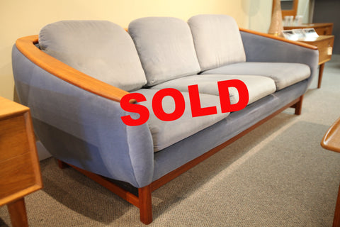 "Mid Century Huber Teak 3 Seater Couch (Blue) (79"" Long)"