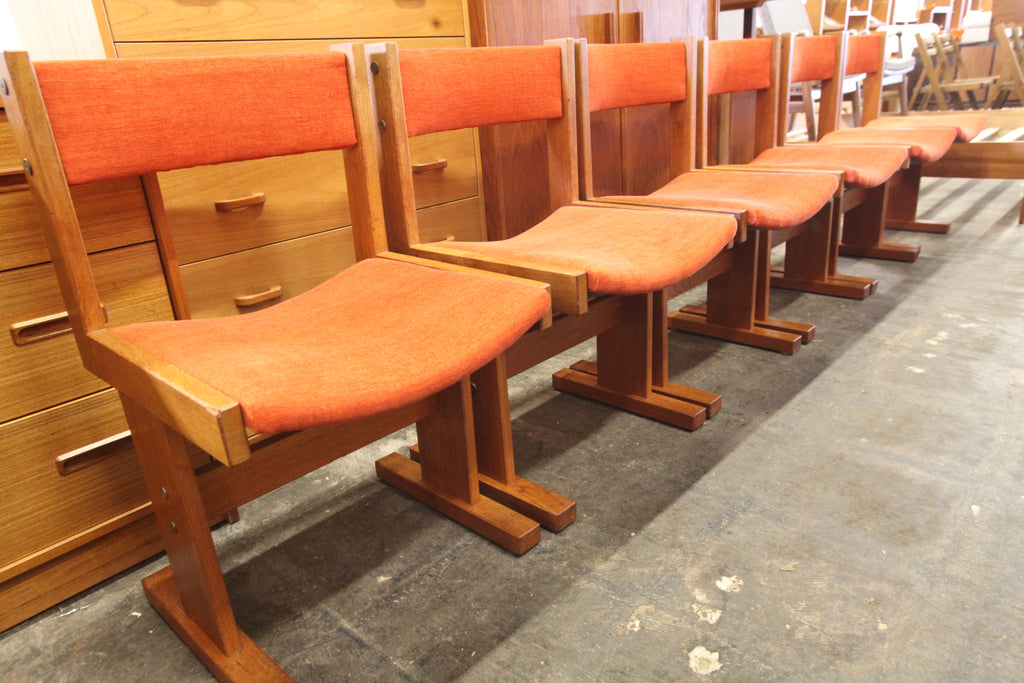 Amazing Set of 6 Gangso Mobler Solid Teak Dining Chairs (New Upholstery)